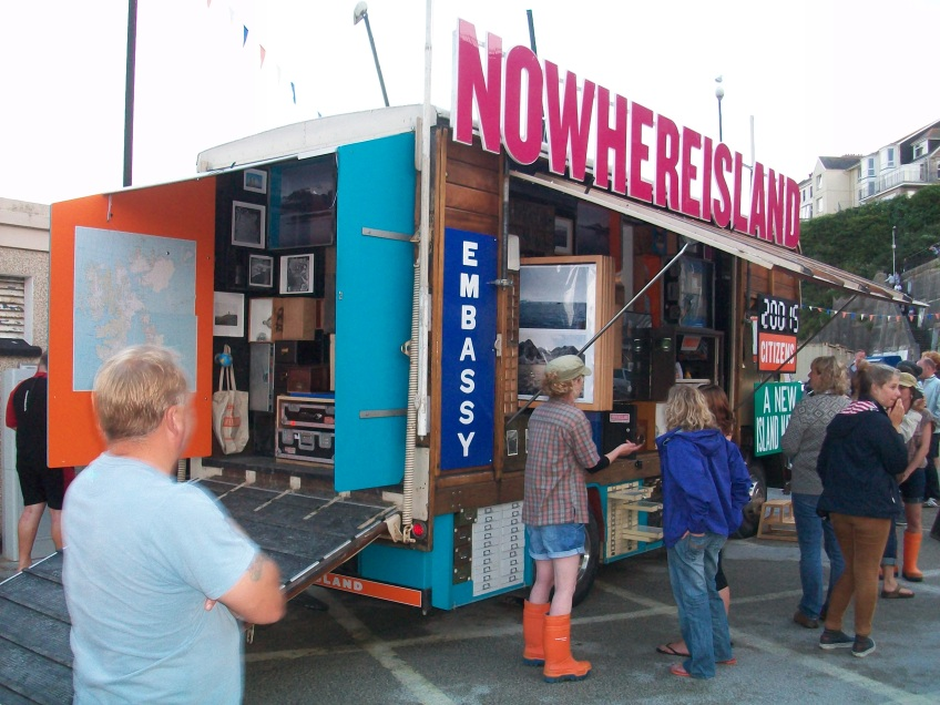 Figure 0.19: Alex Hartley, The Mobile Cabinet of Curiosities and Embassy of Nowhereisland, stationed in Newquay Harbor, Cornwall, United Kingdom, 2012, mixed media. Photograph: Joel Robinson.