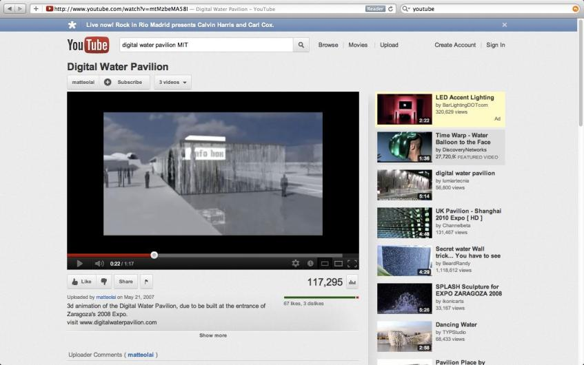 Figure 1.7: Clips of the MIT Digital Water Pavilion (Zaragoza World Expo, 2008) on YouTube. Courtesy of the author.