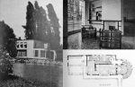 Figure 7.10: Enrico Griffini, Piero Bottoni and Eugenio Faludi, Country Villa 5. Exterior photo showing care in landscaping, plan, interior view of dining area with door to kitchen and bathroom on left. From Domus, July 1933, 297. Copyright Editoriale Domus S.p.A. Rozzano, Milano Italy. Montage by author.