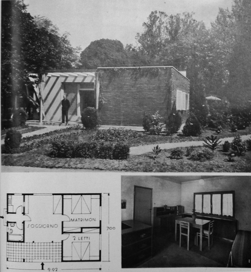 Figure 7.11: Mino Fiocchi, Emilio Lancia, Michele Marelli and Giuseppe Serafini Country Villa. From Domus, August 1933, 413 & 415. Exterior photograph showing bucolic setting, interior view of living room, ground floor plan. Copyright Editoriale Domus S.p.A. Rozzano, Milano, Italy. Montage by author.