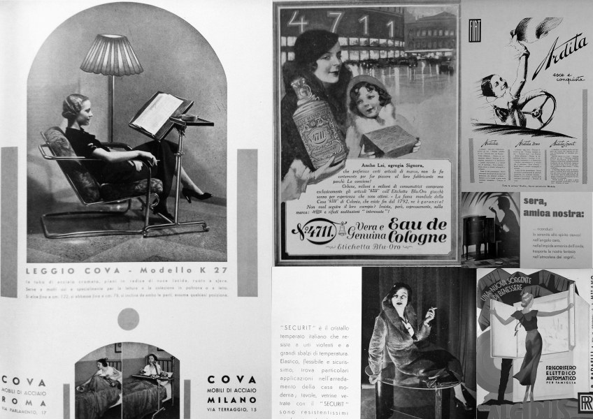 Figure 7.2: Advertisements from Domus showing middle class commodities: His Master's Voice Radio, Fiat Ardita 'Goes out and conquers', Cova furniture, Algidus refrigerators, 4711 cologne, Cristallo Securit. From Domus: September 1933, xix; November 1936, n.p.; October 1933, iv; April 1933, 222. Copyright Editoriale Domus S.p.A. Rozzano, Milano, Italy.