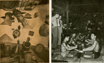Figure 8.2: Russel Wright, 'Gold Mine in Southeast Asia', Interiors 116 (August, 1956), p. 100. [The original captions read: 'Left: In the Coliseum exhibition: Vietnam straw hats and baskets. Right: Messrs. Wright and Alexander in a Vietnam jungle watching the ages-old method of dye-pounding black Chinese brocade silk.']