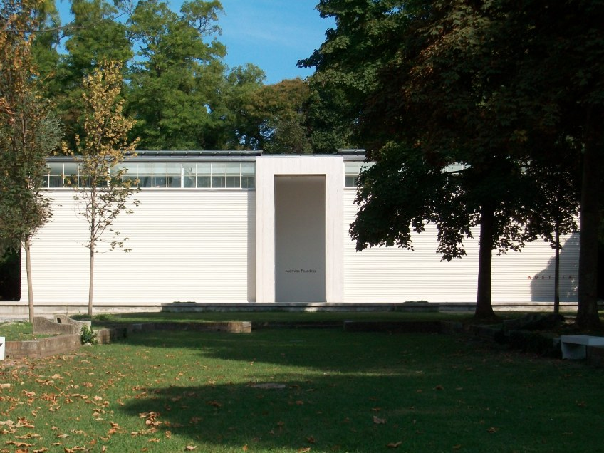 Figure 3.18: View looking north toward the Austrian pavilion, designed by Josef Hoffmann in 1934, and restored by Hans Hollein in 1984. Photograph: Joel Robinson.