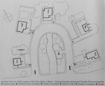 Figure 7.5: Plan of Layout of holiday villas showing horseshoe arrangement. Key: 1. Seaside/Lake Villa, 2. Mountain Villa, 3. Alpine Villa, 4. Beach Villa, 5. Country Villa, 6. Artificial Beach. From Domus, July 1933, 292. Copyright Editoriale Domus S.p.A. Rozzano, Milano, Italy.