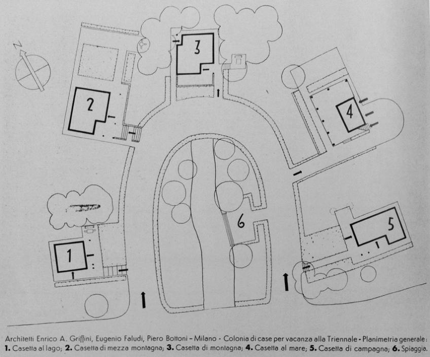 Figure 7.5: Plan of Layout of holiday villas showing horseshoe arrangement. Key: 1. Seaside/Lake Villa, 2. Mountain Villa, 3. Alpine Villa, 4. Beach Villa, 5. Country Villa, 6. Artificial Beach. From Domus, July 1933, 292. Copyright Editoriale Domus S.p.A. Rozzano, Milano, Italy.