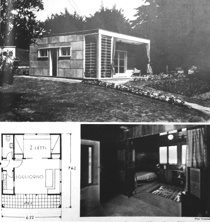 Figure 7.6: Enrico Griffini, Piero Bottoni and Eugenio Faludi, Seaside/Lake Villa 1. Exterior photo, plan, interior view of sleeping area from living room with doorway to kitchen and bathroom on left. From Domus, July 1933, 293. Copyright Editoriale Domus S.p.A. Rozzano, Milano, Italy.