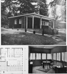 Figure 7.7. Enrico Griffini, Piero Bottoni and Eugenio Faludi, Mountain Villa 2. Exterior photo, plan, interior view of living areas with corner window. From Domus, July 1933, 294. Copyright Editoriale Domus S.p.A. Rozzano, Milano, Italy.