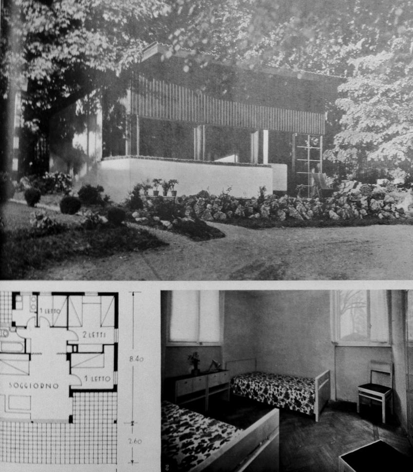 Figure 7.8. Enrico Griffini, Piero Bottoni and Eugenio Faludi, Alpine Villa 3. Exterior photo, plan, interior view of twin bedroom. From Domus, July 1933, 295. Copyright Editoriale Domus S.p.A. Rozzano, Milano, Italy.