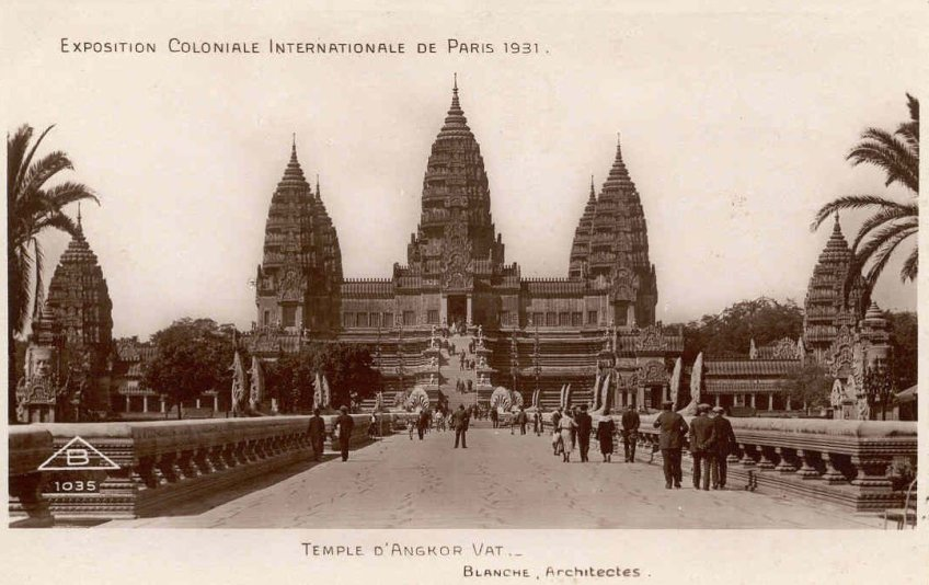 4.3: Exterior of the Indochinese pavilion-temple at the 1931 exposition. 'The copy of the Temple of Angkor Vat at the International Colonial Exposition in 1931, Paris.'