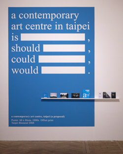 Figure 9.1: Photograph of poster installation for Taipei Biennial 2008 by Jun Yang, installed at 'Institution for the Future,' exhibition at Chinese Arts Centre for Asia Triennial Manchester 2011.