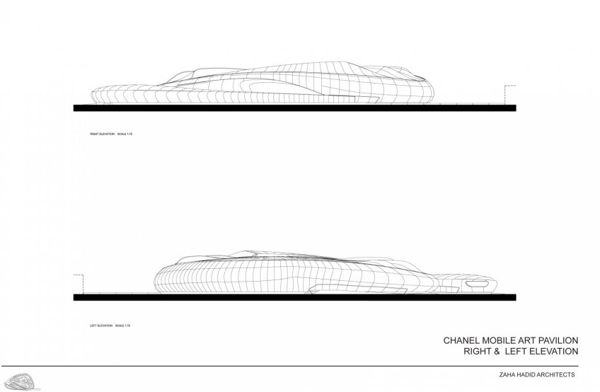 Figure 12.4: The Mobile Art Pavilion – elevation drawing, 2007. Courtesy of Zaha Hadid Architects.