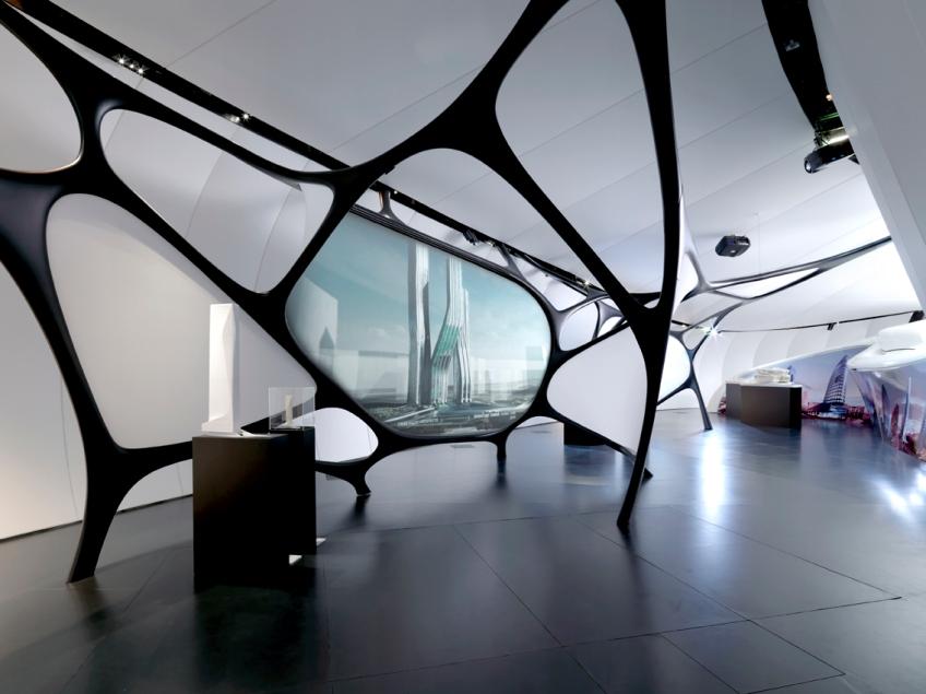 Figure 12.8: 'Zaha Hadid – Une architecture' exhibition, at the Mobile Art, Institut du Monde Arabe, Paris, 2011, Courtesy of IMA and Zaha Hadid Architects.